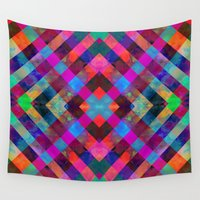plaid Wall Tapestries featuring Rio Plaid by Schatzi Brown