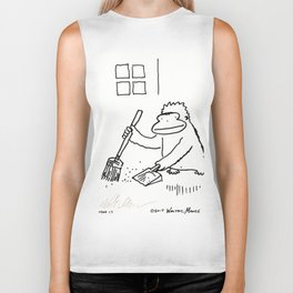 Ape with Broom and Dustpan Biker Tank