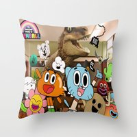 gumball Throw Pillows featuring GUMBALL by rosita