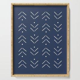 Arrow Lines Pattern in Navy Blue Serving Tray