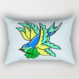 Swallow With Lucky Four Leaf Clover Rectangular Pillow