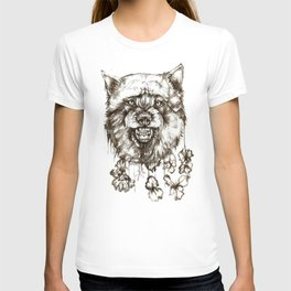 wolf and flowers T-shirt