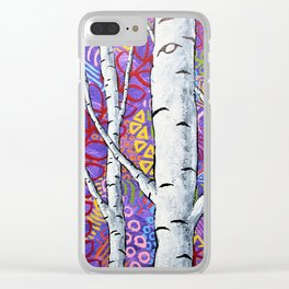 Sunset Sherbert Birch Forest by Mike Kraus-art birch aspen trees forests woods nature interior decor Clear iPhone Case