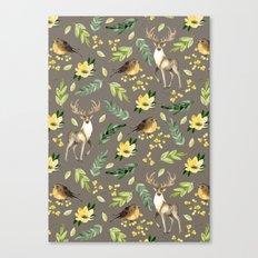 Deer and birds Canvas Print