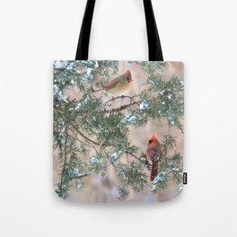 Winter Pair Cardinals (v) Tote Bag