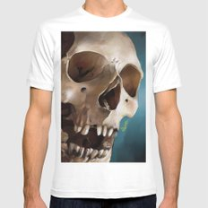 Skull 2 White Mens Fitted Tee MEDIUM