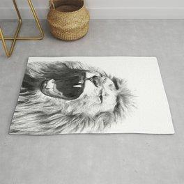Black White Fierce Lion Rug