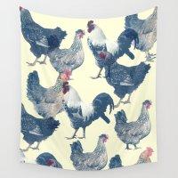 chicken Wall Tapestries featuring CHICKEN by austeja saffron