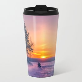 The snow mobile race toward the Sun pillar Travel Mug