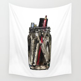 Mason Jar With Pens Wall Tapestry