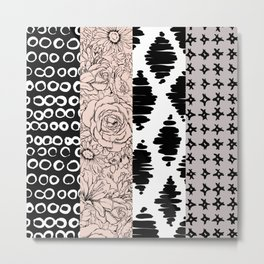 Vertical Stripe Patchwork Pattern Metal Print