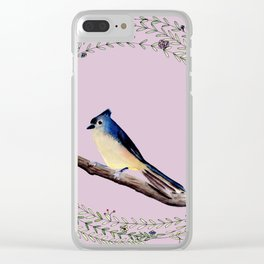 Little bird with wreath and lilac colored background Clear iPhone Case