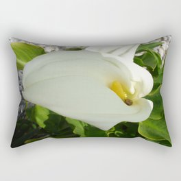 A Large Single White Calla Lily Flower Rectangular Pillow