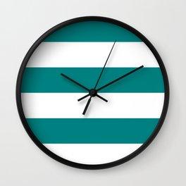 Wide Horizontal Stripes - White and Dark Cyan Wall Clock