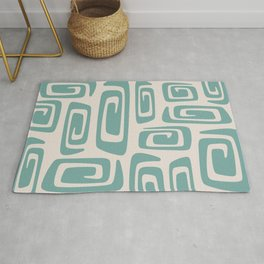 Mid Century Modern Cosmic Abstract 518 Green and Beige Rug