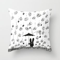 I'm only happy when it rains (skulls) Throw Pillow
