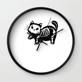 Funny Cat Skeleton Cute Kitten Xray Halloween Costume Gifts Wall Clock