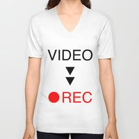 parks and rec V-neck T-shirts featuring video rec by Takeru Amano