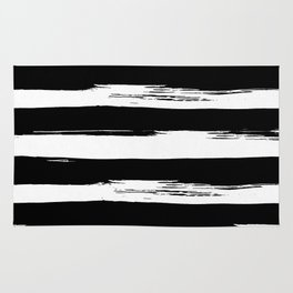 Paint Stripes Black and White Rug