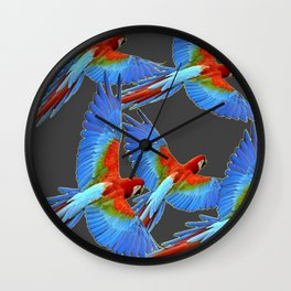 FLOCK OF BLUE MACAWS ON CHARCOAL Wall Clock