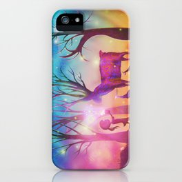 Girl meeting magical forest animals iPhone Case