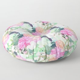 Girly Pink & White Flowers Watercolor Paint Floor Pillow