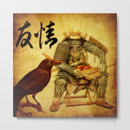 The old samurai and his faithful friendly the crow Metal Print