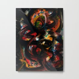 Back to Black Abstract Art Expressionism Metal Print
