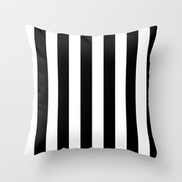 Black & White Vertical Stripes - Mix & Match with Simplicity of Life Throw Pillow