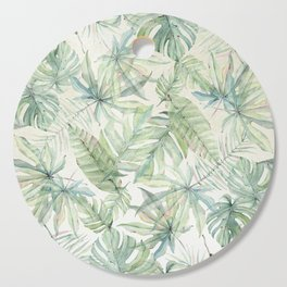 Green Tropical Leaves Cutting Board