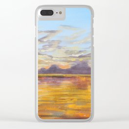 sunset painting ship on the sea Clear iPhone Case
