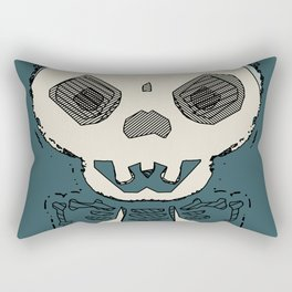 skull and bone graffiti drawing with green background Rectangular Pillow