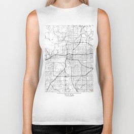 Tulsa Map White Biker Tank