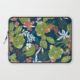 Succulent Garden Navy Laptop Sleeve