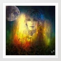 "sandra dieckmann Art Prints featuring "" Sandra ""  by shiva camille"