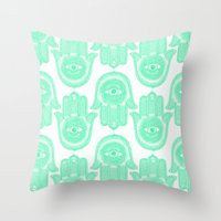 hamsa Throw Pillows featuring Hamsa  by Luna Portnoi