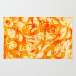 abstract stormy splashy texture (fiery yellow/orange) Rug
