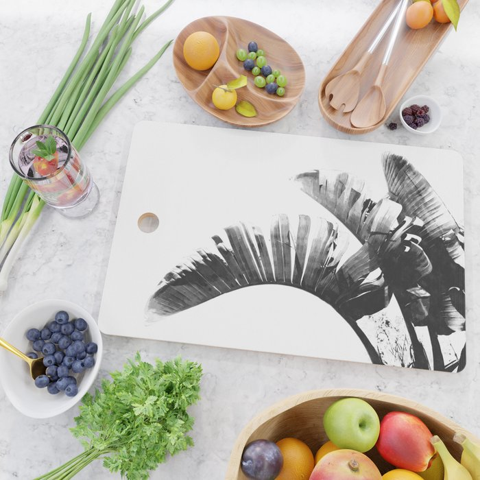 Palm leaves black and white tropical watercolor Cutting Board