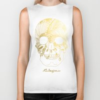 gold foil Biker Tanks featuring Gold Foil Patterned Skull by RsDesigns