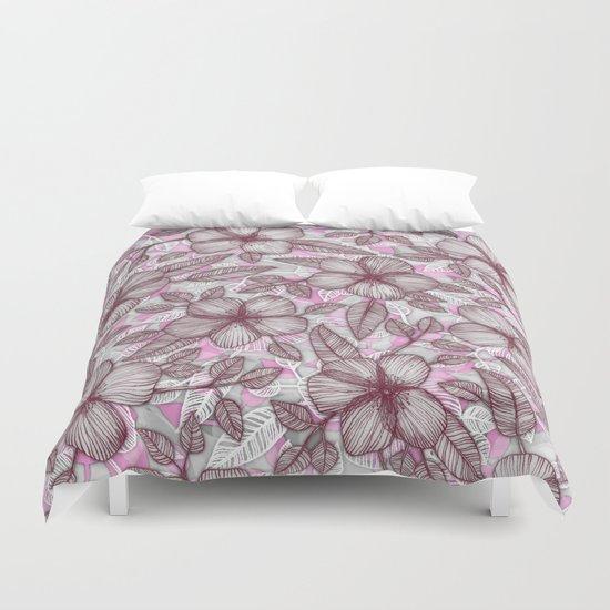 Spring Blossom in Marsala, Pink & Plum Duvet Cover