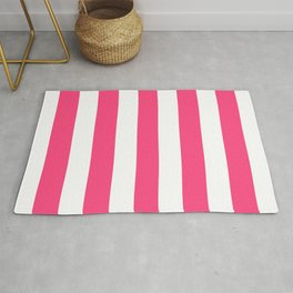 Sasquatch Socks pink - solid color - white vertical lines pattern Rug