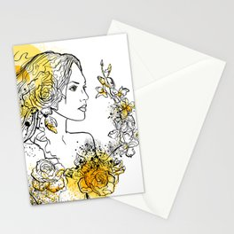 nature flower woman Stationery Cards
