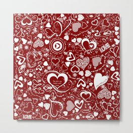 Hearts Love Doodles Metal Print