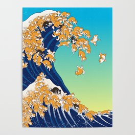 Shiba Inu in Great Wave Poster