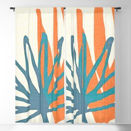 Mid Century Nature Print / Teal and Orange Blackout Curtain