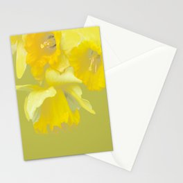 Sign of Spring - Yellow Narcissus on Spring Green Background #decor #society6 #buyart Stationery Cards