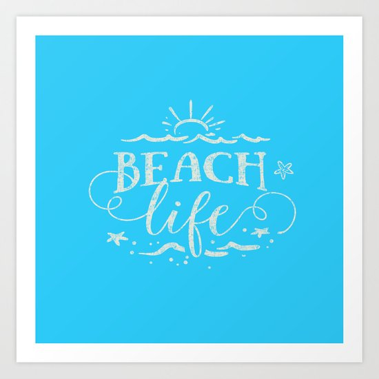 BEACH life - white Typography on Aqua for your summer - Mix & Match Art Print