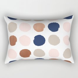 Polka dots abstract minimalist painting bronze copper gold metallic dot Rectangular Pillow