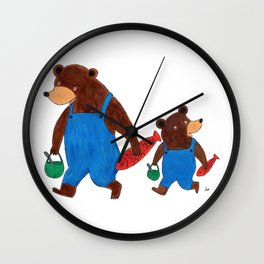 Papa Bear and Little Bear Going for a Picnic - Children's Illustration Wall Clock