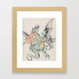 momma teaching fire breathing Framed Art Print
